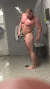 Muscle dad in open showers!