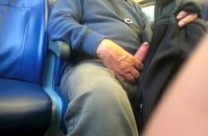 Exhibitionist daddy in the bus!  (°.O)