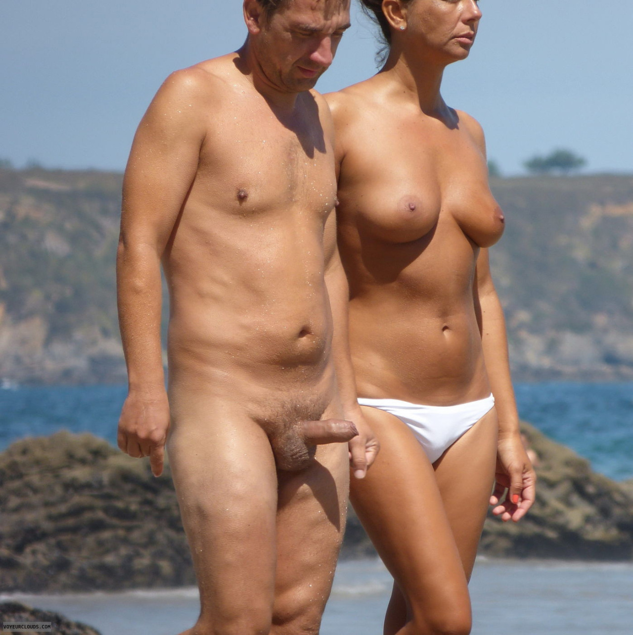 naked boner on the beach