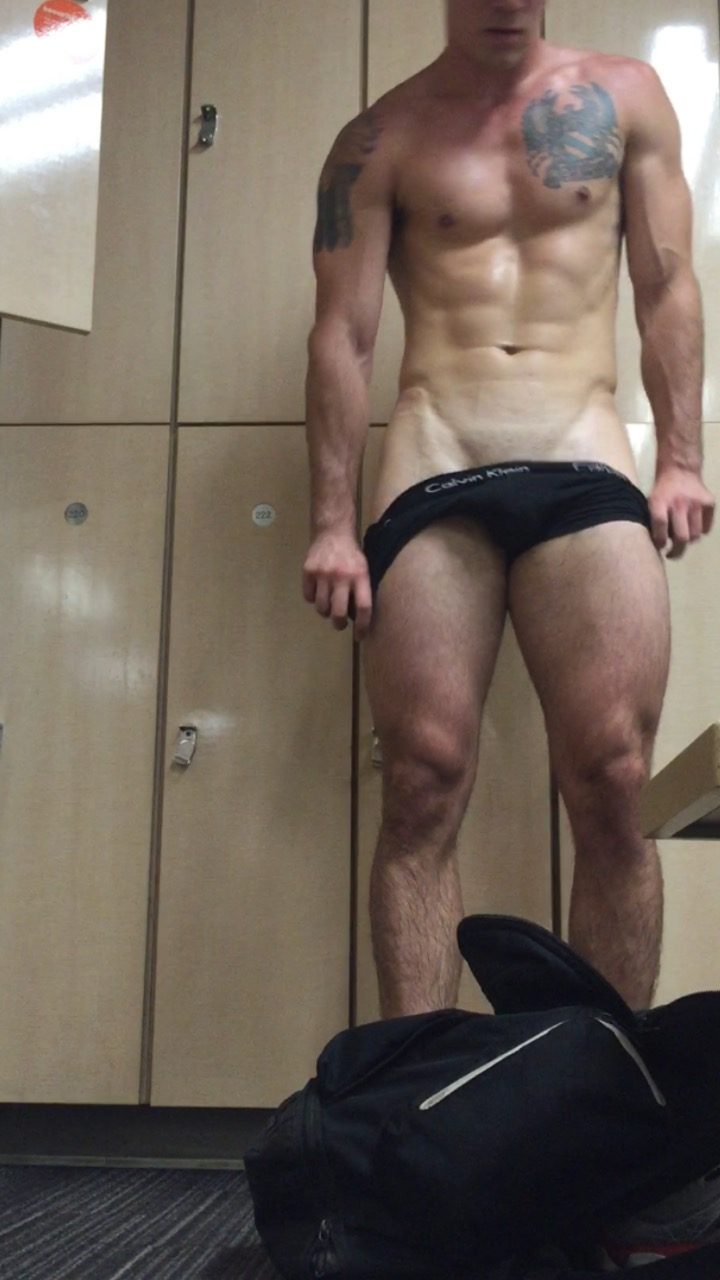 Naked jock in the locker room!