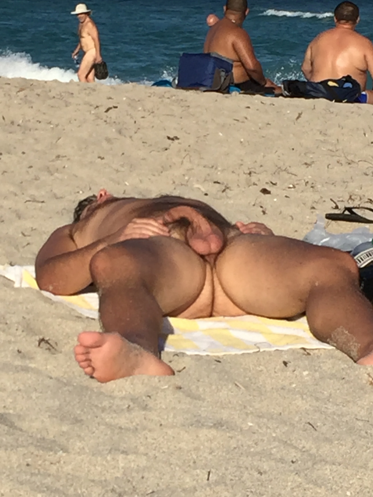 at beach with nude erections Men