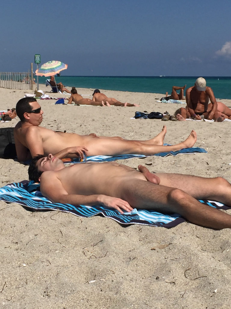 fondling himself at the beach