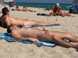 fondling himself at the beach
