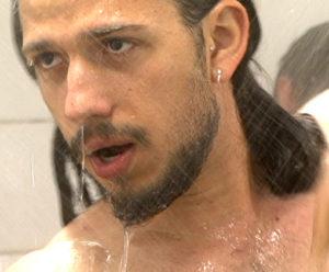 footballer in the shower room