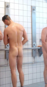 Checking the guys in the shower room