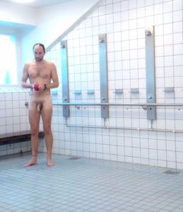 Thick cock swimmer in the shower room