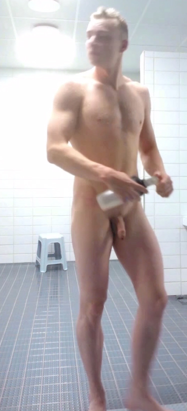 uncut jock in the shower room